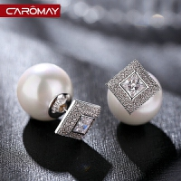 饰品s925银几何菱形仿珍珠耳钉女前后佩戴耳环