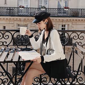 【超级品牌日!下单立减100!】撞色针织开衫女短款2018秋装新款时尚气质外搭小香风长袖毛衣