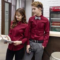 新款酒红色长袖衬衫秋冬纯色情侣装韩版修身男女结婚照衬衣潮大码
