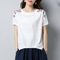 2018夏季棉麻T恤女薄款绣花民族风上衣文艺宽松短袖T恤衫女