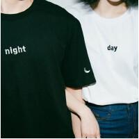 大码情侣装T恤女 夏装短袖宽松半袖体恤00后黑白小衫韩版学生班服