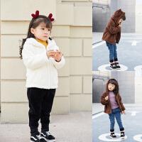 女宝宝冬装外套新款 双面绒小兔子小熊休闲百搭儿童连帽外套