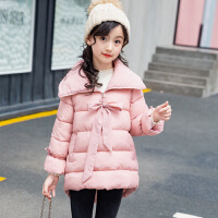 乌龟先森 棉服 女童加厚长袖单色连帽手塞服冬季新款韩版儿童时尚休闲舒适百搭中大童外套