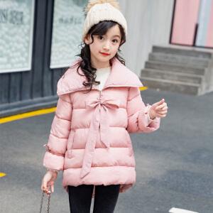 乌龟先森 棉服 女童加厚长袖单色翻领面包服冬季新款韩版儿童时尚休闲舒适百搭中大童外套