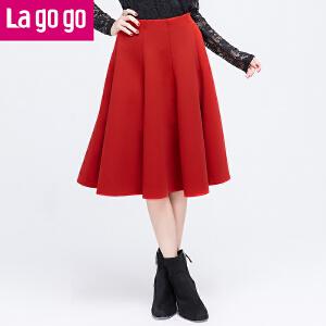 Lagogo/拉谷谷红色拼接高腰百褶半裙女中长款过膝半身裙秋裙子冬