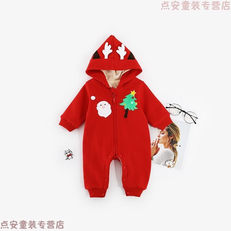 婴儿衣服圣诞节礼服宝宝爬服新生儿连体衣圣诞老人松树麋鹿哈衣 发货周期:一般在付款后2-90天左右发货,具体发货时间请以与客服协商的时间为准