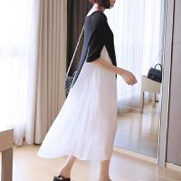 2017新款七分袖棉麻针织拼接气质连衣裙女夏季长款过膝显瘦长裙子 均码