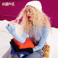 妖精的口袋冬装2018新款针织衫女时尚学生ins超火的修身毛衣秋