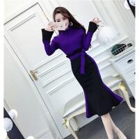 秋冬新款韩版时尚气质立领撞色修身上衣+包臀鱼尾加厚半身裙套装