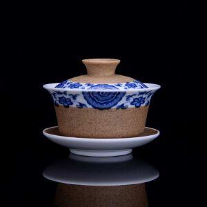 陶釉青花茶具一套