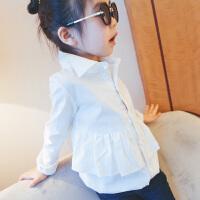 女童T恤长袖2018春装韩版儿童纯棉荷叶边娃娃衬衫中大童打底上衣