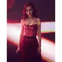 【新款上市】明星同款礼服2018新款显瘦长款宴会生日派对性感吊带连衣裙红色