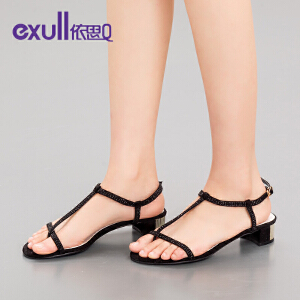 exull依思q夏季新款露趾凉鞋女夹趾中跟粗跟女鞋