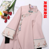 汉服女唐装中国风女装秋冬季古装改良古风旗袍复古温柔风毛呢套装