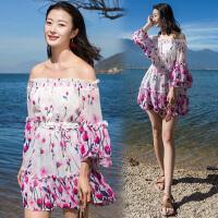 夏新款海边度假沙滩裙女巴厘岛三亚马尔代夫海滩连衣裙短裙仙