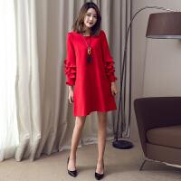 红色连衣裙名媛小礼服裙香风春季新款遮肚显瘦宽松胖mm大码女春装