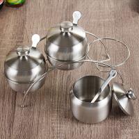 304不锈钢调味罐套装 加厚调料盒厨房佐料罐家用辣椒食盐罐