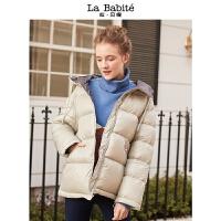 拉夏贝尔短款羽绒服新款秋冬季韩版白鸭绒加厚学生chic面包服外套女装