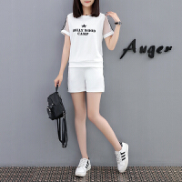 运动套装女夏2018新款韩版潮时尚宽松显瘦短袖短裤跑步休闲两件套