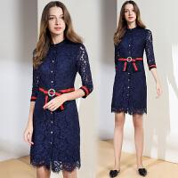 秋季连衣裙女长袖新款春秋女装淑女气质修身中长款蓝色蕾丝裙
