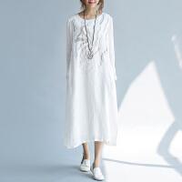 原创设计女装文艺薄款棉麻连衣裙 苎麻秋季长款开叉裙
