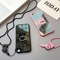 镜面iphone6plus硅胶套带挂绳苹果6s手机壳指环支架软壳