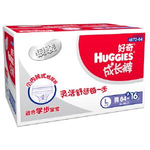 [当当自营]Huggies好奇 银装成长裤 拉拉裤(裤型) 尿不湿 男 L84+16片 箱装(适合10-14公斤)