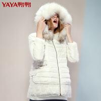 鸭鸭(YAYA)2018新款女短款貂子毛A版斗篷型羽绒服B-5430