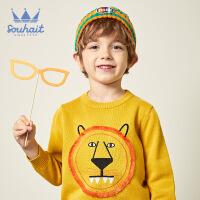 【2件2.5折:66元】souhait水孩儿童装冬季新款男小童线衣时尚可爱套头线衣儿童线衣针织衫(80-130)