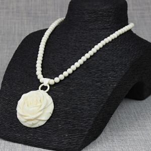 猛犸象牙 玫瑰花挂件 精工 配猛犸象牙8mm珠链