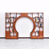 明清仿古家具中式实木双圈月洞门博古架榆木门厅隔断尺寸可定做 2米以上