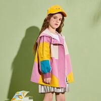 【春新品2件4折:174】巴拉巴拉旗下巴帝巴帝女童风衣中长款拼接外套2020春装新款洋气风衣女