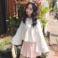 韩版宽松百搭长袖白衬衫女装春装2018新款学生气质显瘦衬衣上衣潮 白色 均码