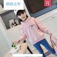 女童连帽卡通卫衣2018春季新款中大童韩版套头上衣外套全棉打底衫