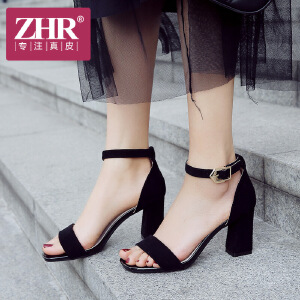 ZHR2018夏季新款韩版一字扣高跟鞋粗跟凉鞋学生鞋子简约百搭女鞋F86
