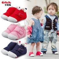 卡特兔女宝宝公主鞋子0-3-5岁婴儿学步鞋机能鞋男宝宝软底帆布鞋