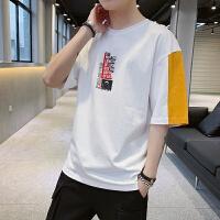 2019短袖t恤男士圆领半袖宽松衣服夏季韩版潮流纯棉印花青少年打底衫