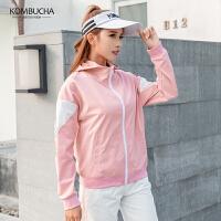 【新春特惠价】Kombucha运动跑步健身两件套女士纯色拼接宽松透气连帽外套长裤两件套装JCWT578T2