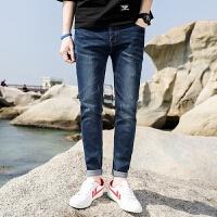 新款2018男士裤子夏季夏季男装牛仔裤潮男休闲裤弹力青少年破潮流