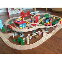 电动小火车130件木制托马斯轨道火车套装儿童玩具积木质 标配