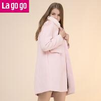 lagogo冬季新款中长款毛领纯色呢大衣外套女装