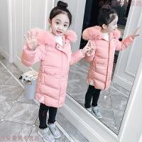 女童冬装外套韩版2018新款儿童棉衣中长款女孩棉袄洋气潮 粉