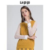 【5折价129.5】Lagogo/拉谷谷2018秋季新款浪漫蕾丝针织衫两件套HCMM938A27