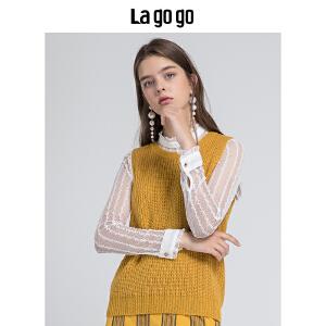 【清仓3折价137.7】Lagogo/拉谷谷2019秋季新款浪漫蕾丝针织衫两件套HCMM938A27