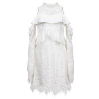 泰国潮牌超仙连衣裙2018春季新款长袖露肩聚会小个子白色小礼服女 白色【预售】
