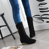 彼艾2017秋冬新款女靴子内增高圆头平底中筒靴磨砂坡跟短靴女冬款中靴