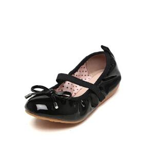鞋柜shoebox/苹绮女童鞋春简约蝴蝶结蛋卷鞋女童单鞋新品舞蹈鞋