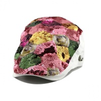 帽子女春秋彩色亮片女士贝雷帽韩版菱形七彩鸭舌帽女式帽潮春季女 可调节