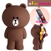韩国line立体布朗熊硅胶笔袋 大容量创意简约可爱铅笔袋文具盒女