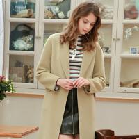 冬装新品 100%纯羊毛双面呢长大衣毛呢外套女D746004D00